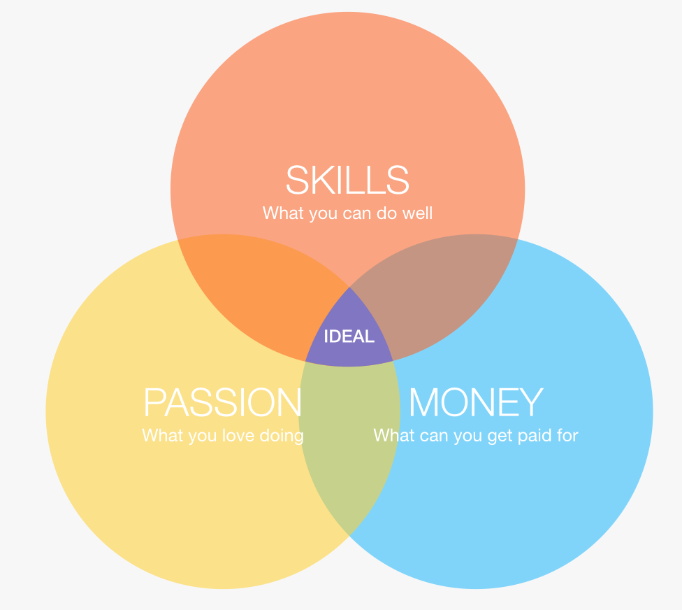 intersection of passion, skill, and money